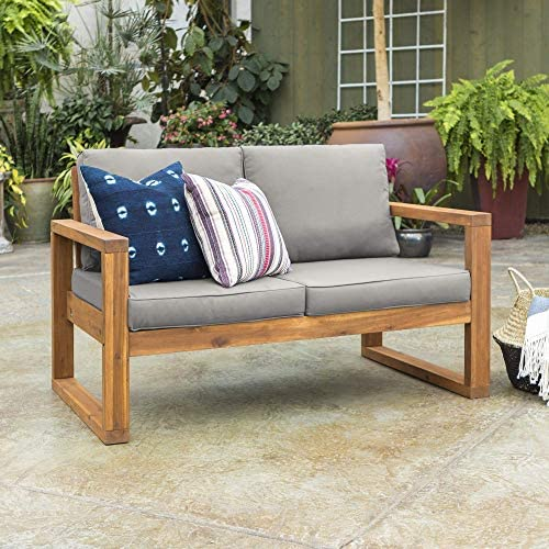 Best Walker Edison Furniture Company OWOSLSBR Outdoor Love Seat, Loveseat, Brown