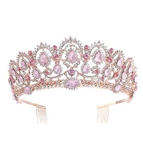 ZHANGZ Corona della Regina Corona di Strass Corona della Principessa Corona Nuziale Diademi per Il Ballo di fine Anno Festa Nuziale Costume di Halloween Regali di Natale,Rosegoldwhite