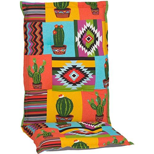Beo HL Nizza BE912 Cojín para Silla de jardín con Respaldo Alto, diseño de Cactus en Color Naranja y Amarillo