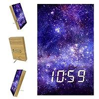 ベッドルーム用デジタル目覚まし時計キッチンオフィス3アラーム設定ラジオウッドデスククロック-スターリーナイトスターギャラクシー