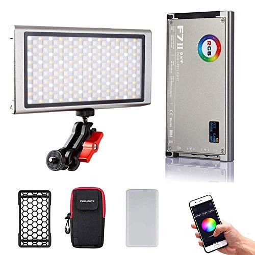 Falcon Eyes F7 II RGB-Videolicht 2500K-9000K CRI 96+ Pocket-Kameralicht mit Honeycomb Grid-Softbox-Magnet Mobile APP für IOS und Android verfügbar (aktualisierte Version)