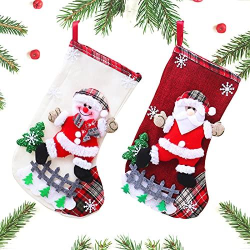 GmeDhc Calza di Natale, 2 Pezzi Calze Natalizie da Appendere per Regali Caramelle Dolci, Calze befana, Calza di Natale per Decorazioni Natalizie, Calze Natalizie per Riempire e Appendere