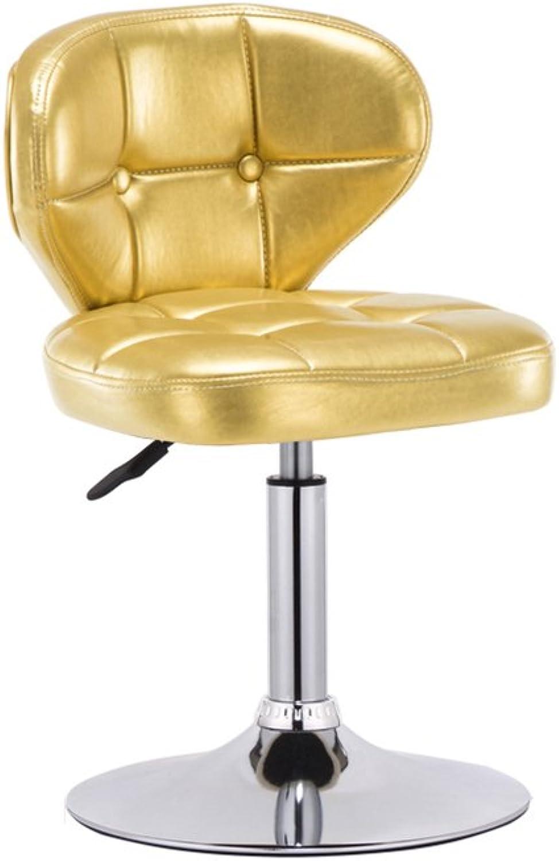 QIDI L-100 Bar Chair Backrest Stool Retro Barstool redating Bar Stool (color   gold)