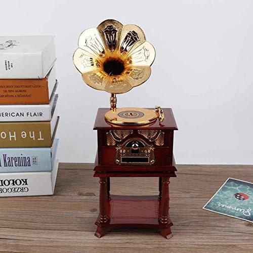 Omabeta Joyero en Forma de fonógrafo Caja de música Musical Joyero Musical para niñas Niño Niños Decoración del hogar Regalos de cumpleaños Adorno(Brown)
