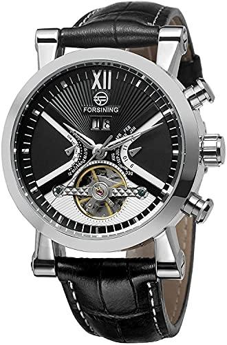 ZFAYFMA Reloj automático de los hombres Correa de cuero multifuncional Moda Negocios Mecánico Automático, Impermeable Steampunk Movimiento de Acero Inoxidable Negro