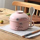 XinLuMing Sake Cup Tazón de cerámica Copa de cerámica y Placa de Ensalada de Verduras Utensilios de Dieta Estilo japonés de Dibujos Animados de Fideos Sopa de Cuenco (Color : B)