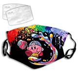 Liacafa Painting Kir-by Windproof Mouth Guard, Washable Earloop Face Mouth Decorations - Reusable and Adjustable Face Mouth Bandana Protector with Replaceable Filters