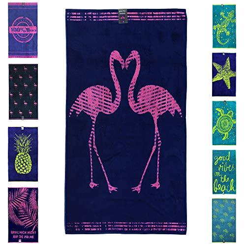 jilda-tex Strandtuch 90x180 cm Badetuch Strandlaken Handtuch 100% Baumwolle Velours Frottier Pflegeleicht (Flamingos)