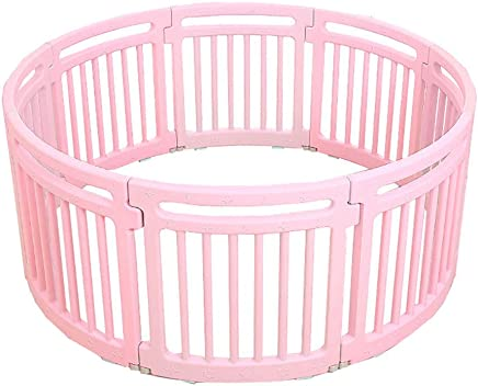 WJSW Baby Playpen Kids Activity Centre Safety Play Yard  Foldable Portable Room Divider Child Kids Barrier Colorful Panels  Color Pink