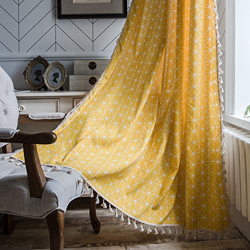 Lahome Geometric Tassel Window Curtains - Semi Blackout Cotton Blend Farmhouse Boho Style Drapes Rod Pocket Window Curtain Panel with Tassels for Living Room (Yellow Chessboard, 52' W x 84' L Pair)