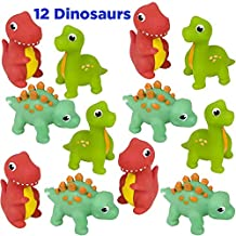 Mr. E=mc2 AbbyRose Rubber Dinosaur Squirt Bath Toys   12 Pack of Bathtub Dinosaurs for Toddler Boys and Girls   Dinosaur Party Favor, Baby Beach Set, Pool Activity,, Bath Supplies