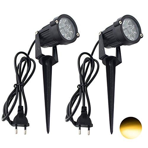 2 Packs, 5W LED Impermeable IP65, Luz de Paisaje al Aire Libre AC 85-265V Focos de exterior con enchufe, de iluminación Para Calzada, Patio, Cesped, Pathway, Jardín (Blanco cálido)