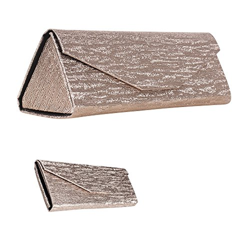 Formal Foldable Eyeglass Case, Elegant Metallic Rose Gold Design Protective Reading Glasses Holder for Weddings and Special Events, PVC - By OptiPlix