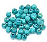 SiAura Material 200 Stück Holzperlen 9x10mm mit 3mm Loch, Rund, Blau zum Basteln