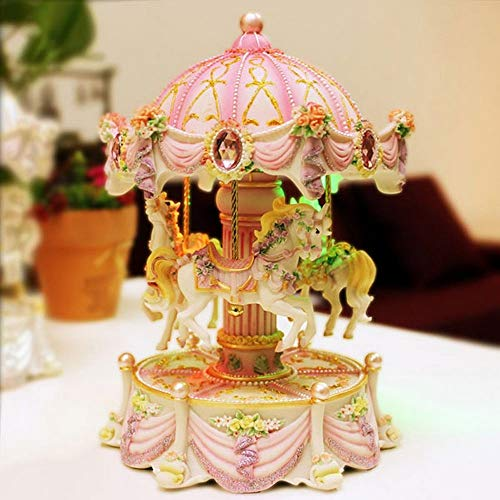 FFFJJJ creativos Regalos tiovivo Mini Music Box con luz Intermitente Parte Relojes para Princesa Love Girl San Valentín Navidad gifta