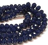 Cuentas de cristal checo de Bohemia facetadas redondas de 4/6/8/10 mm (azul marino opaco, 6 x 4 mm)