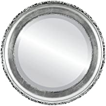 Round Beveled Wall Mirror for Home Decor - Kensington Style - Silver Leaf with Black Antique - 27x27 outside dimensions