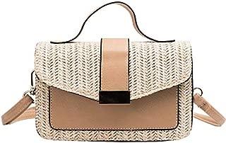 TOOGOO New Women'S Straw Beach Bag Rattan Messenger Bag Envelope Shoulder Bag Fashion Women'S Messenger Bag White