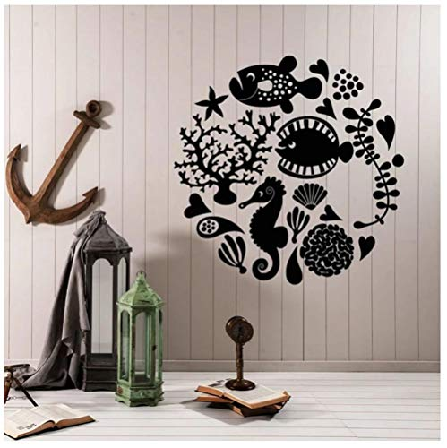 Hanzeze Cartoon vis aquarium muur Stickers Afneembare en levendige ontwerp DIY huis muur raam art deco sticker geschikt voor kinderkamer 57x57cm
