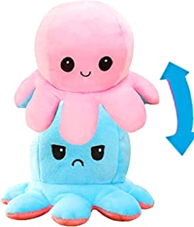 AKOD Reversible Octopus Plush, Cute Stuffed Animals, Good Gift for your kids or your friend Little Blue+Little Pink