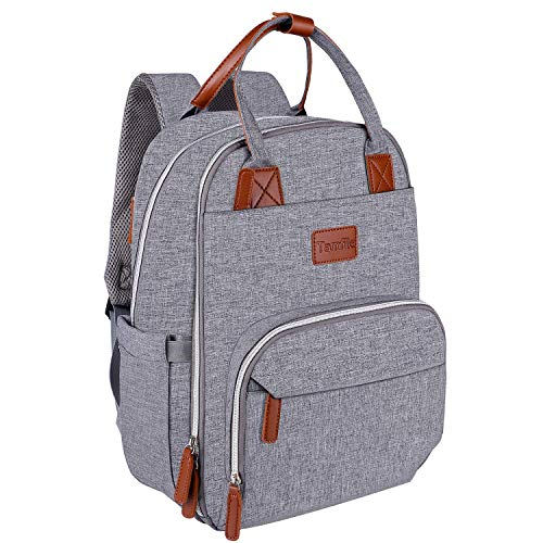 Baby Changing Bag, Baby Diaper Backpack with USB Port Large Capacity Nappy Rucksack for Mom & Dad(Grey)