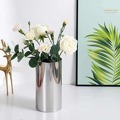 IMEEA Jarrón moderno de acero inoxidable 18/8 de 9,9 x 19,3 cm con acabado de espejo para el hogar, boda o centro de mesa, flores no incluidas (plateado)