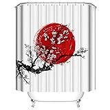 LLLTONG Duschvorhang Mehltau Kirschblüte Kirsch Duschvorhang, waschbarer dekorativer Duschvorhang, wasserdicht Red Sun Ink Plum Blossom