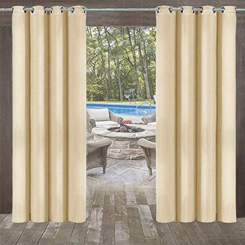 DOMDIL Outdoor Vorhänge Gartenlauben Balkon-Vorhänge Gardinen Verdunkelungsvorhänge mit Ösen, Vorhang Wasserdicht Mehltau beständig, Pavillon Strandhaus, 1 Stück (132 * 215cm) (1 Pack)
