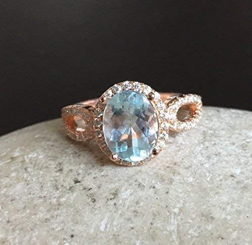 Real Natural Aquamarine Rings Aquamarine Proposal Rings March Birthstone Oval Cut Rings Sterling Silver Rings