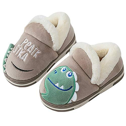 Pantofole Inverno Ragazzi Ragazze Scarpe di Cotone Bambini Peluche Antiscivolo Home Caldo Ciabatte Slipper Invernali Marrone 16/17=23-24EU