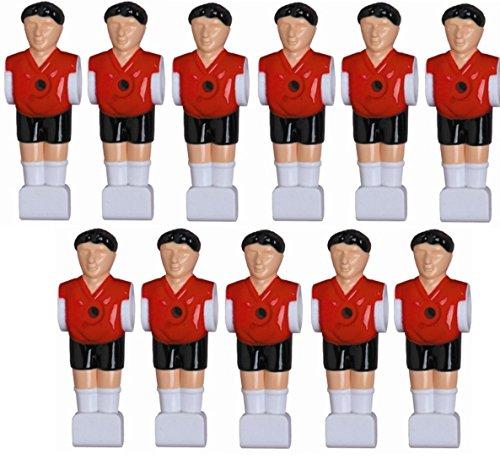 1a-sports 11 Kickerfiguren für 16 mm Stangen inkl. Schrauben + Muttern Komplett Set (Schwarz-Rot) von Charlsten