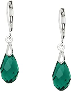 Falari Glass Crystal Earring Leverback High Polished Rhodium