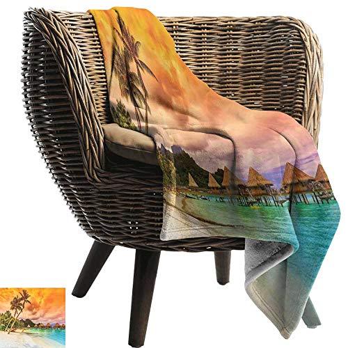 ZSUO Gewogen deken volwassen strand, benen van de sexy dame leggen in de hangmat in de richting van de oceaan in Hawaiian Tropical Cream Blue Gooi lichtgewicht Cozy Pluche Microfiber Solid Deken