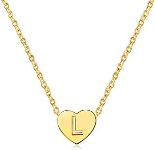 MiniJewelry A-Z Initial Choker Necklace for Women Tiny Love Heart Personalised Name Letter Gold Stainless Steel Necklace