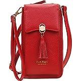 Pearl Angeli Cuero Real Suave Mujer Bolso de Hombro para teléfono móvil Crossbody Phone Bag con Bloqueo RFID (Rojo Brillante)