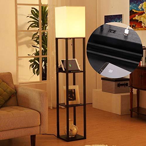 Lámpara de Pie de Madera con 3 Estantes, Moderna Lámpara LED de Pie de 2 Puertos USB, Lámpara de Pie con Estantes de Madera, Lámpara Vertical de ángulo para Dormitorio (No Incluye Bombilla),Negro