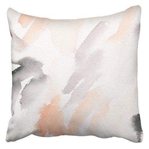 AEMAPE Fundas de cojín Rosa Blush Mano Pintura Abstracta Acuarela Lavado Colorido Cepillo Gris Pintura Clara Color Pastel 40X40 Cm