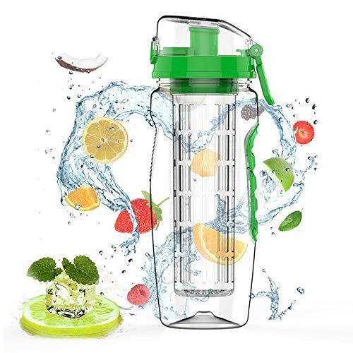 Bouteille d'eau Infuseur De Fruits sans BPA Juice Shaker Sports Bouteille d'eau Au Citron Fitness Sport Bouteilles À Boire De Fruits pour Fille - Vert 1000 ML