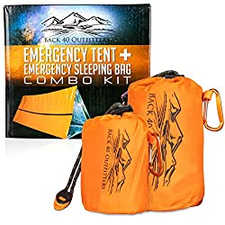 Back 40 Outfitters Emergency Tent and Emergency Bivy Sleeping Bag – Ultralight Survival Tent • 2 Person Mylar Emergency…
