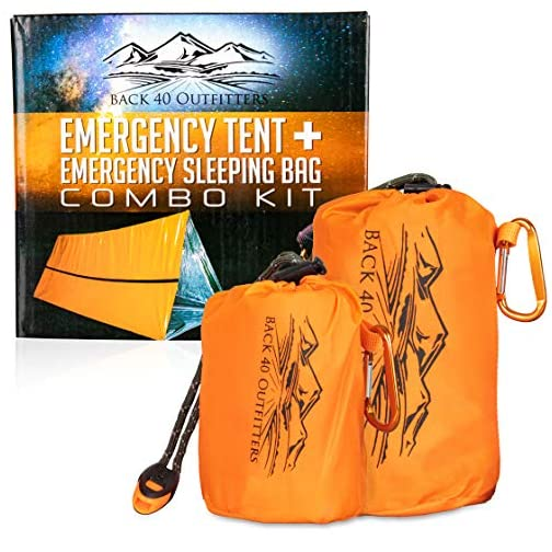 Back 40 Outfitters Emergency Tent and Emergency Bivy Sleeping Bag - Ultralight Survival Tent • 2 Person Mylar Emergency… 3