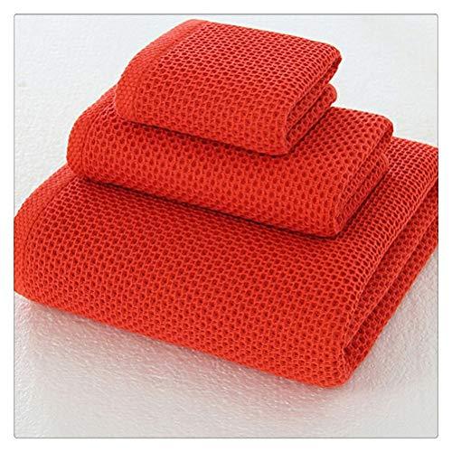 ZHUSHI-MJ 3 Unids/Set 100% Algodón 34 * 74 Cm Toalla De Cara De Panal Toalla De Mano 70 * 140 Cm Toalla De Playa De Baño 34 * 34 Cm Toalla Cuadrada (Color : Red)