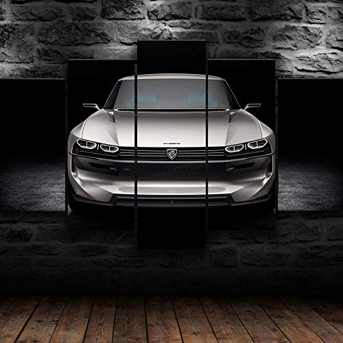 Cuadro Sobre Lienzo 5 Piezas Impresión En Lienzo Ancho: 150Cm, Altura: 100Cm Listo Para Colgar-Coche Conceptual Peugeot E-Legen En Un Marco