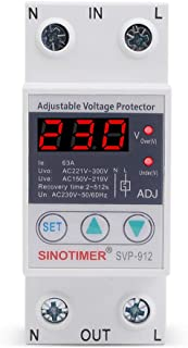 SINOTIMER SVP912 House 63A Adjustable Protection Over and Under Value Automatic High and Low Voltage Protect Relay