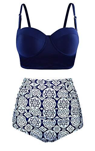 Stynice Bikini Damen Retro Polka-Punkt Bikini-Sets Neckholder Hoher Taille Badeanzug, Blau, XXL