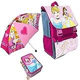 Kit Scuola 3 in 1 School Promo Pack Zaino Estensibile + Astuccio 3 Zip Accessoriato + Ombrello Salvaspazio Disney Princess Le Principesse Edizione Nuova