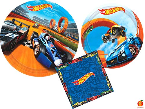 Hot Wheels Party Supplies Bundle with Luncheon Plates, Dessert Plates and Napkins for 8 Guests