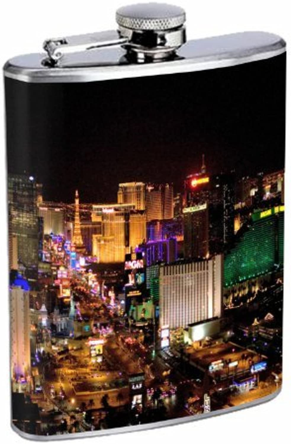 la red entera más baja Flask 8oz Stainless Stainless Stainless Steel Las Vegas Design-003 by Perfection In Style  Con 100% de calidad y servicio de% 100.