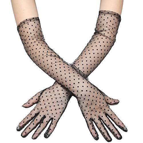 Coucoland Guantes largos y cortos de malla transparente para mujer, para bodas, fiestas, fiestas, carnaval, accesorios Largo – Negro Dot Talla única