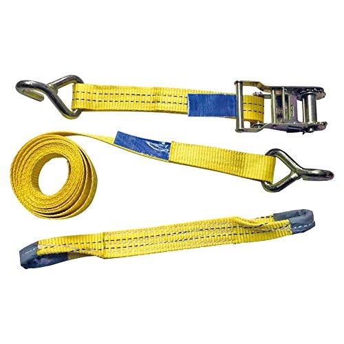 Petex 43193319 driepunts auto-transport spanband 3-delig lengte 3,3 m, dwarsband 0,4 m, breedte 35 mm, 1000/2000 daN-puntige haak, eenvoudig, geel