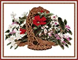 Maydear Cross Stitch Kits Stamped Full Range of Embroidery Starter Kits for Beginners DIY 14 CT 2 Strands - Rattan Basket Flower 22.83×17.72 inch